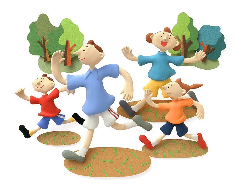 ファミリーイラスト ジョギングをする家族