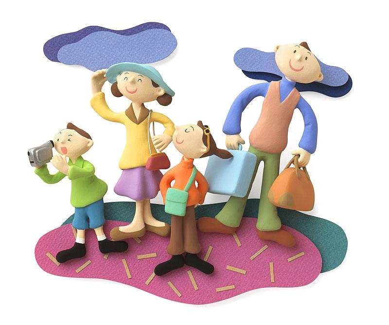家族でお出かけイラスト 旅行家族