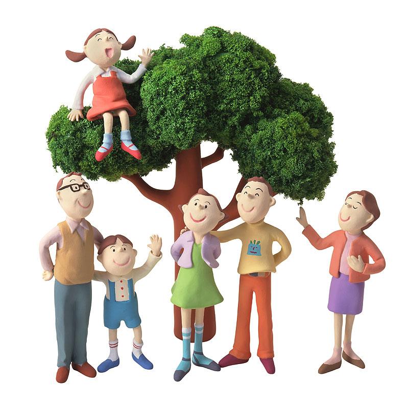 石川恵子 家族イラスト 一本の木に集まるファミリー