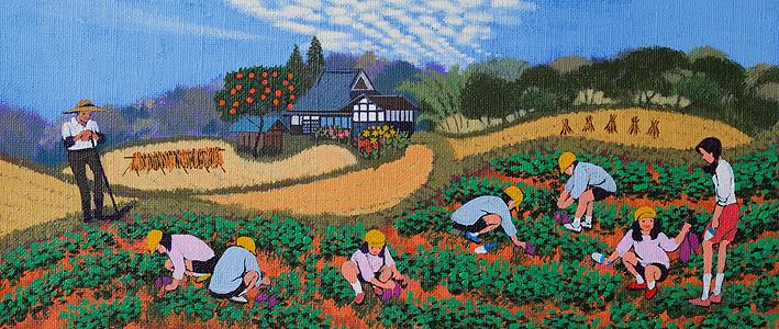 磯田三雄 農業体験イラスト 里山の田舎で幼稚園のイモ掘り 秋