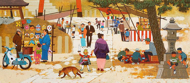 お正月の初詣イラスト 神社の初詣に参拝する人々と出店屋台