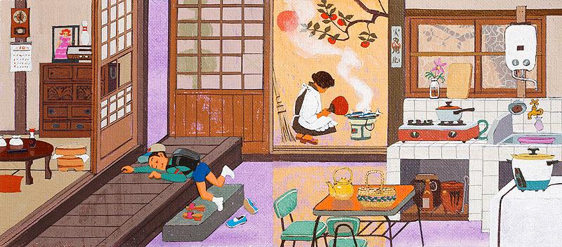 昭和レトロな家庭の風景イラスト 秋の台所