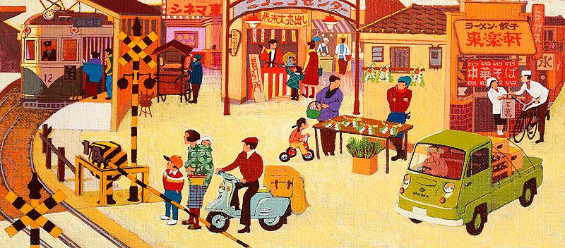 昭和レトロな商店街イラスト 年末の町並み