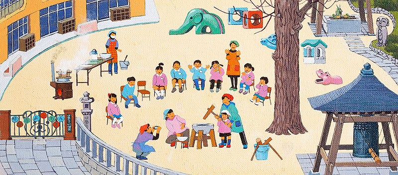 餅つき大会イラスト お正月に幼稚園で餅つきをする子どもと先生