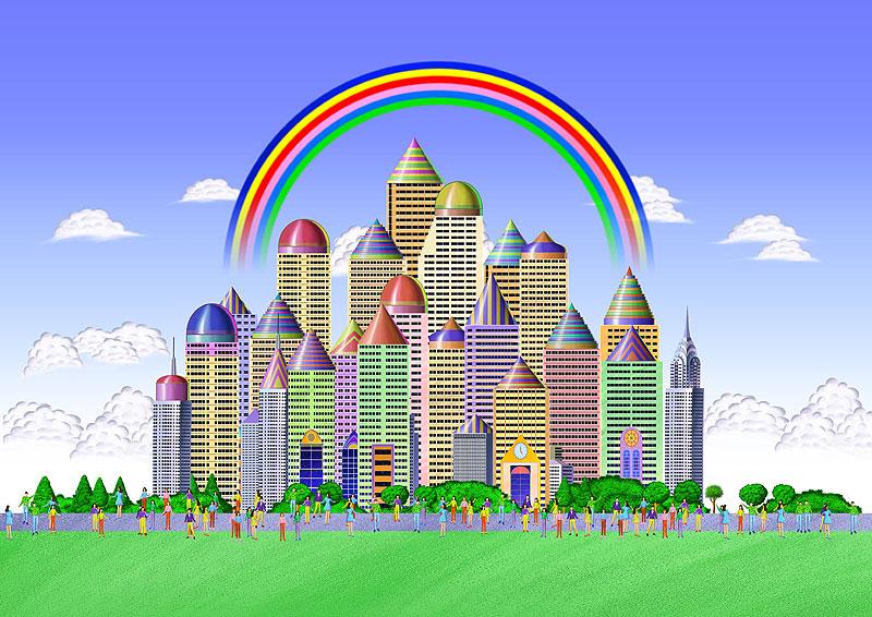 虹が架かる夢の都市イラスト 栄...