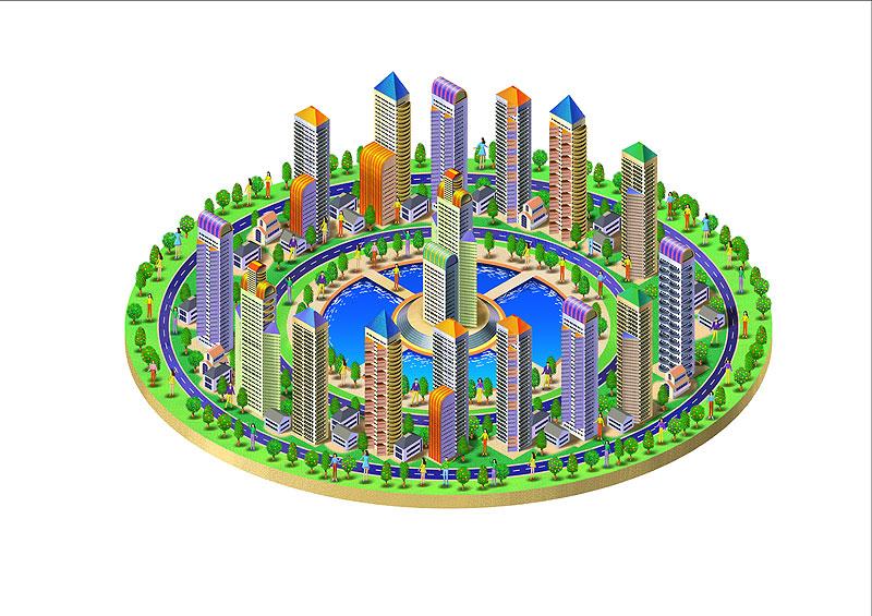 岩崎政志 国際交流イラスト 発展する都市の街並みと人々