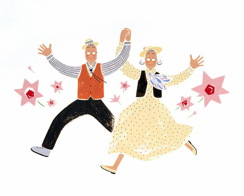 ダンスする元気な老夫婦イラスト