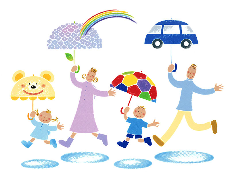 岩崎みよこ 梅雨の季節もカラフルな傘の家族でおでかけイラスト