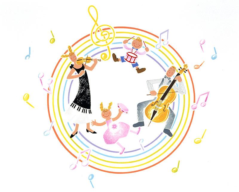 岩崎みよこ 家族で楽しむ演奏会イラスト
