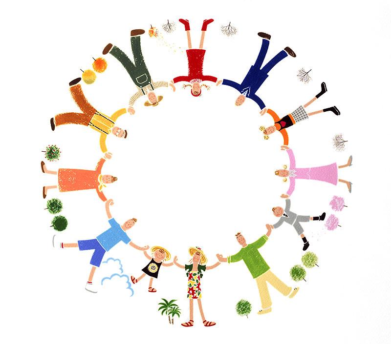 岩崎みよこ 人の輪イラスト 四季のフレーム素材 四季の木と12ケ月