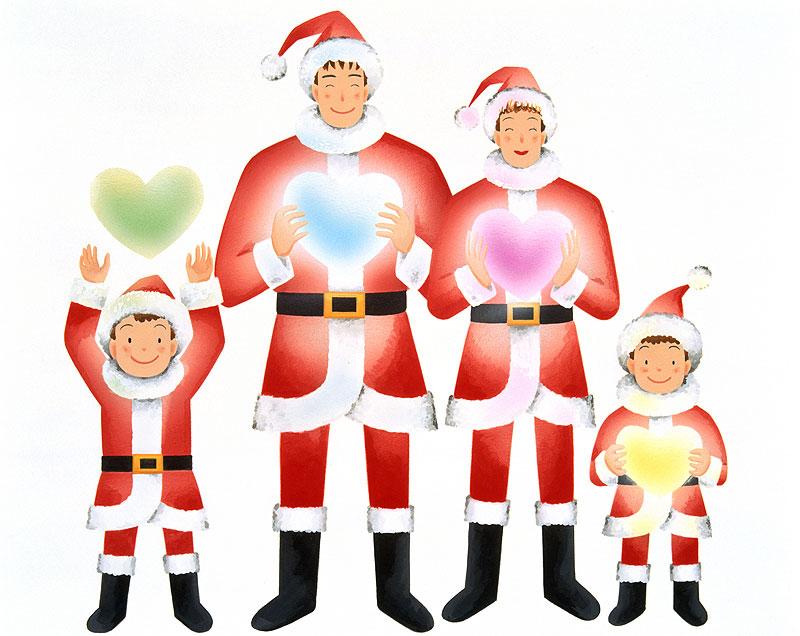 岩崎みよこ 光るハートを持つサンタクロース服家族のクリスマスイラスト
