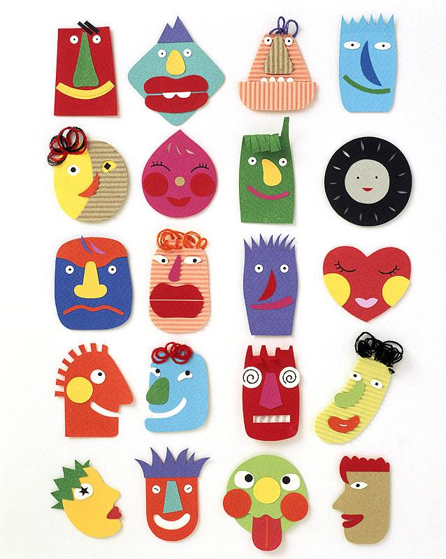 岩崎みよこ 顔イラスト素材 ペーパークラフトの表情豊かでカラフルな顔たち