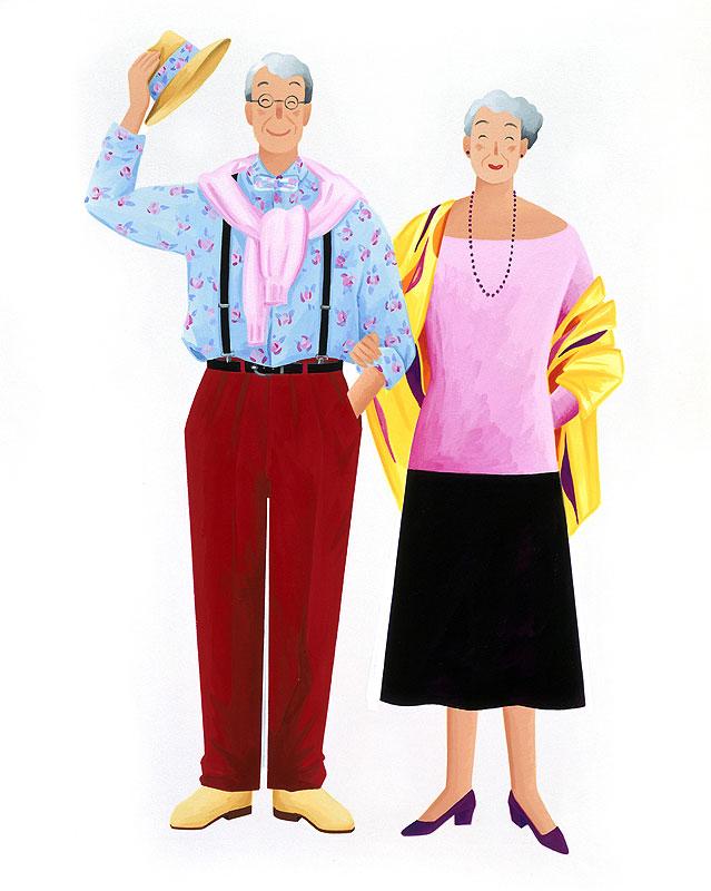 岩崎みよこ オシャなファッションでおでかけの元気で若い高齢夫婦イラスト