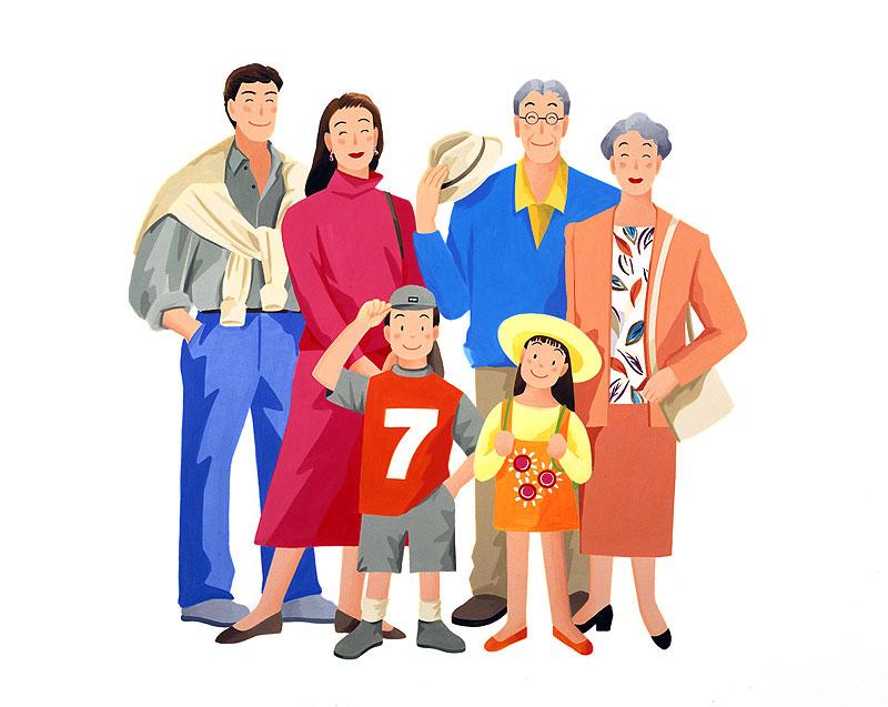 岩崎みよこ 一家総出で家族旅行イラスト