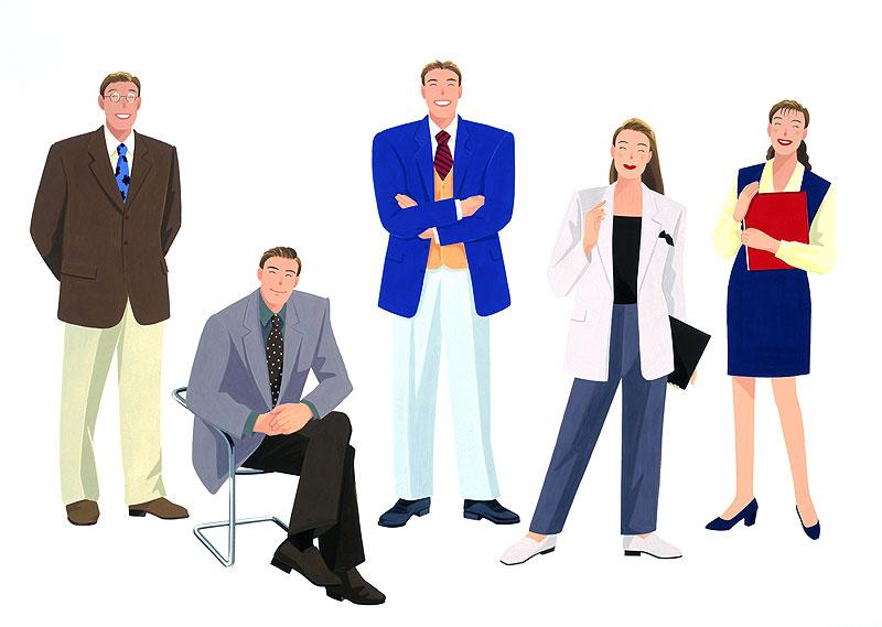 岩﨑みよこさん オフィスで働くビジネスパーソンのイラスト