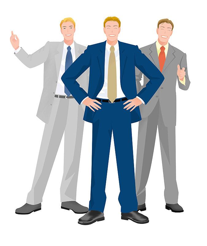 岩崎みよこ 余裕の笑顔でポーズをきめる三人のビジネスマンイラスト 仕事・職業・ビジネスイラスト