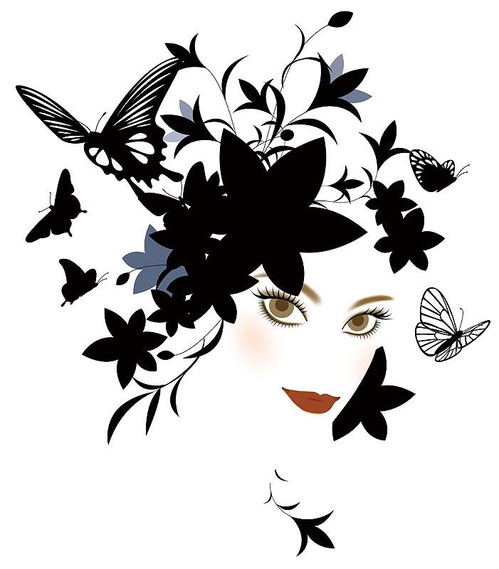 岩崎みよこ ファッションイラスト 黒い花と蝶 斜め顔の見詰める女性