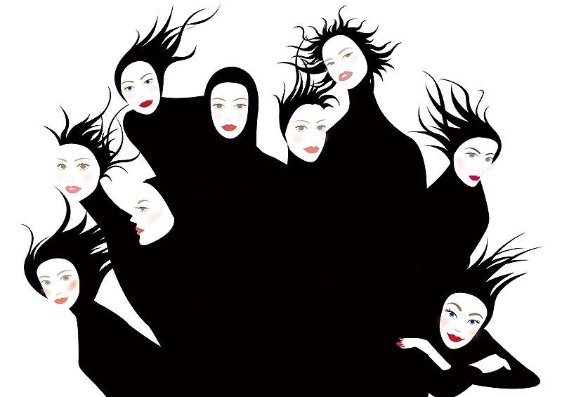岩崎みよこ ファッションイラスト 黒いパターンの9人の女性