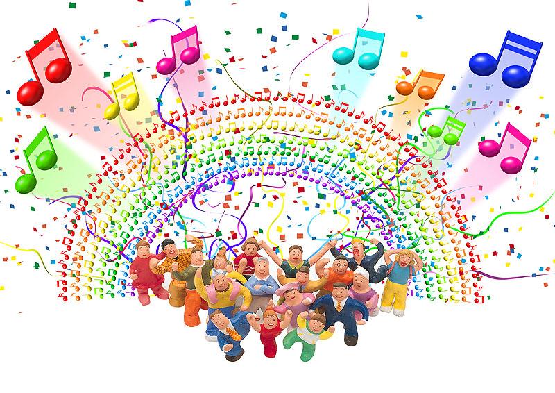 岩崎みよこ+未来工房 音楽のリズムにのってわいわい楽しむお祭りイベントイラスト