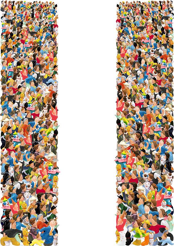 岩崎みよこ+未来工房 観客イラスト 中央に向かって拍手喝采する人々