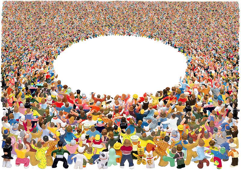 岩崎みよこ+未来工房 中央を丸く囲む群衆イラスト