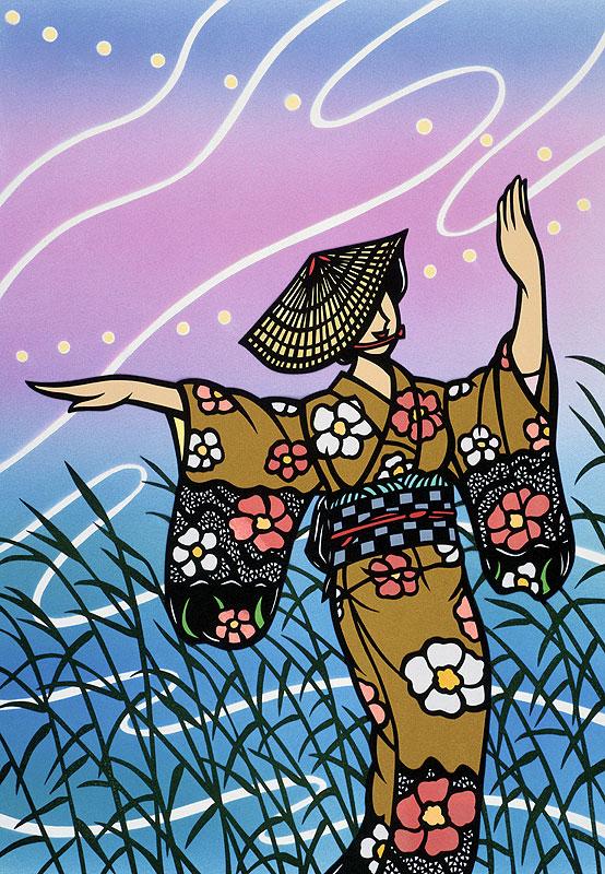 岩田長峯 日本の四季と伝統のお祭り「越中八尾おわら風の盆」イラスト