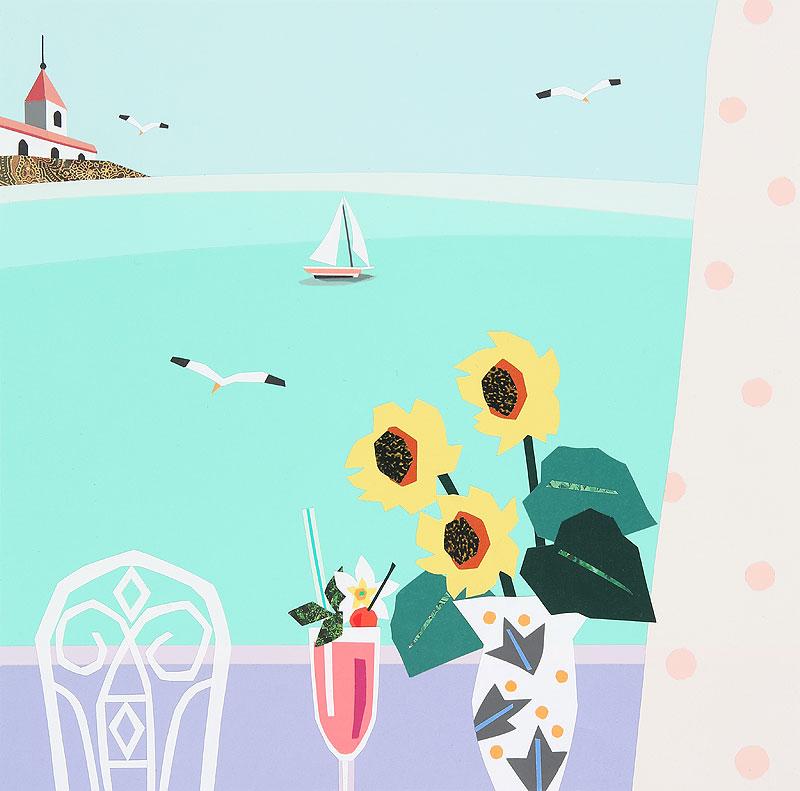 夏イラスト バルコニーから見る夏の海