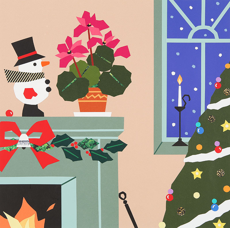 クリスマスイラスト 暖炉のある部屋とクリスマスツリー