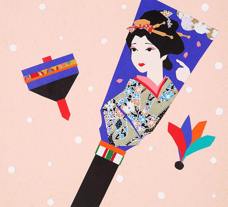 お正月の遊びイラスト 羽根つきの羽子板とコマ回し