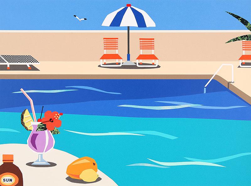真夏のプールサイドでバカンスを満喫イラスト トロピカルドリンク