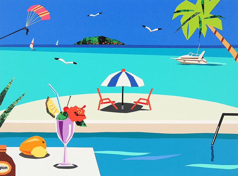 夏のビーチイラスト すいかとビーチパラソル
