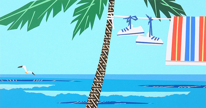 海水浴イラスト 夏の海・椰子の木で洗濯物干し