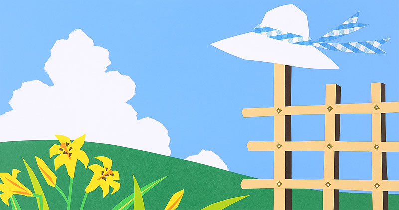 風になびく白い麦わら帽子と入道雲イラスト 高原の風と黄色いユリ