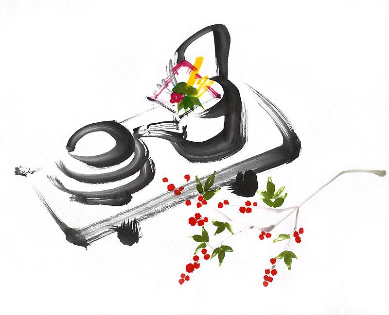 お正月イラスト お屠蘇セットと南天の実の水墨画