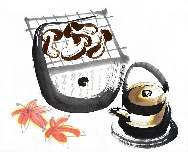 秋の味覚・松茸イラスト 焼き松茸と松茸の土瓶蒸し