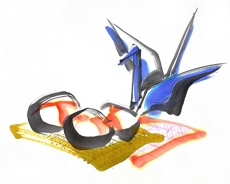 すべての折り紙 鶴 折り紙 : ... 青い鶴の折り紙とお手玉の墨絵