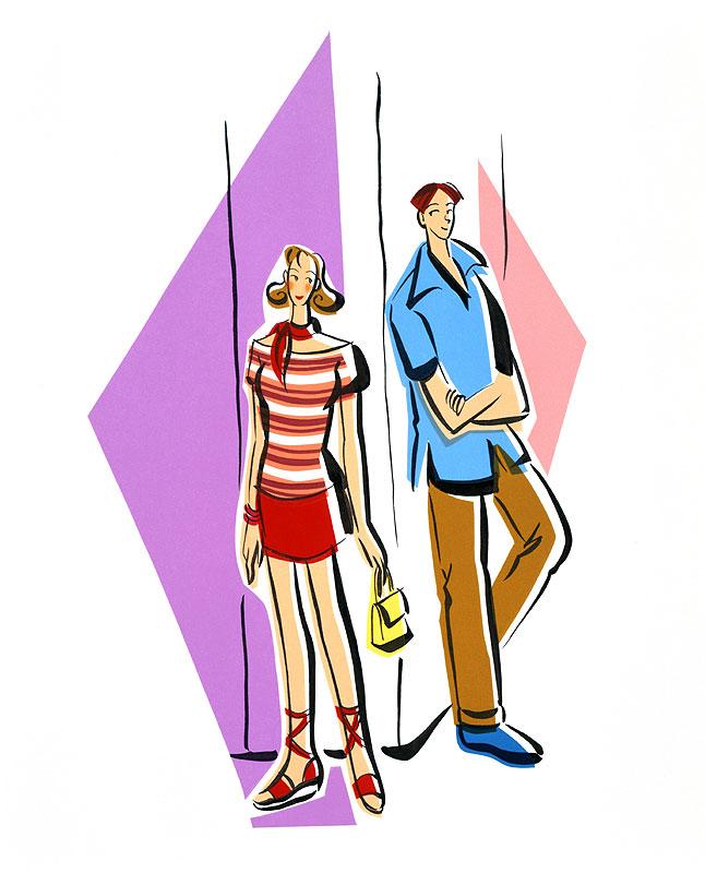 亀井広美 背中合わせで視線を向ける男女の恋人カップルイラスト