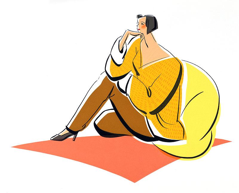 亀井広美 床に座ってくつろぐ女性の暖色イラスト