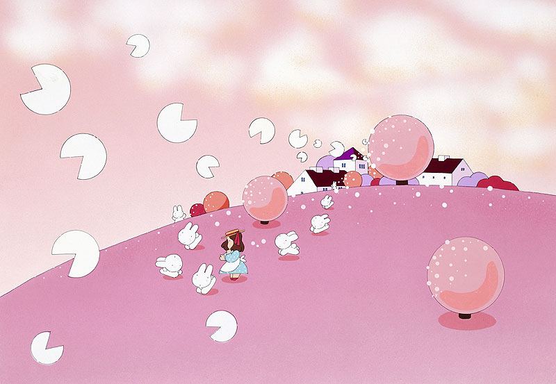 川野隆司 桜舞う景色の中でウサギと少女のお花見イラスト