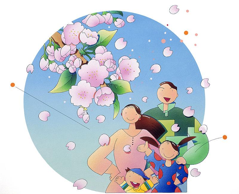 川野隆司 桜咲く春の風景と仲良し家族のお花見イラスト
