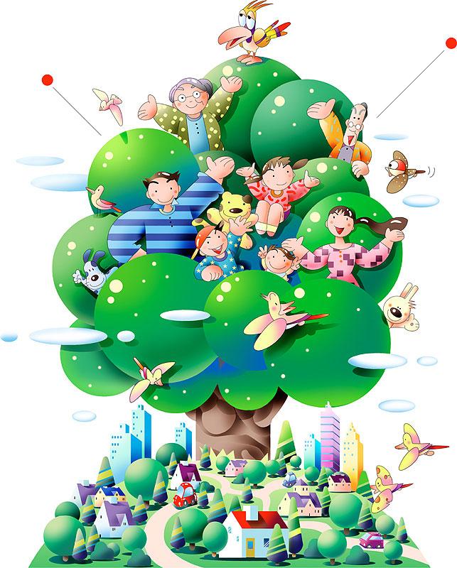 川野隆司 緑溢れる町に生える大きな木と人々の未来の環境社会風景イラスト
