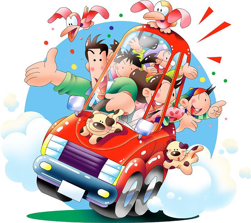 川野隆司 新車中古車赤い車で家族でドライブイラスト