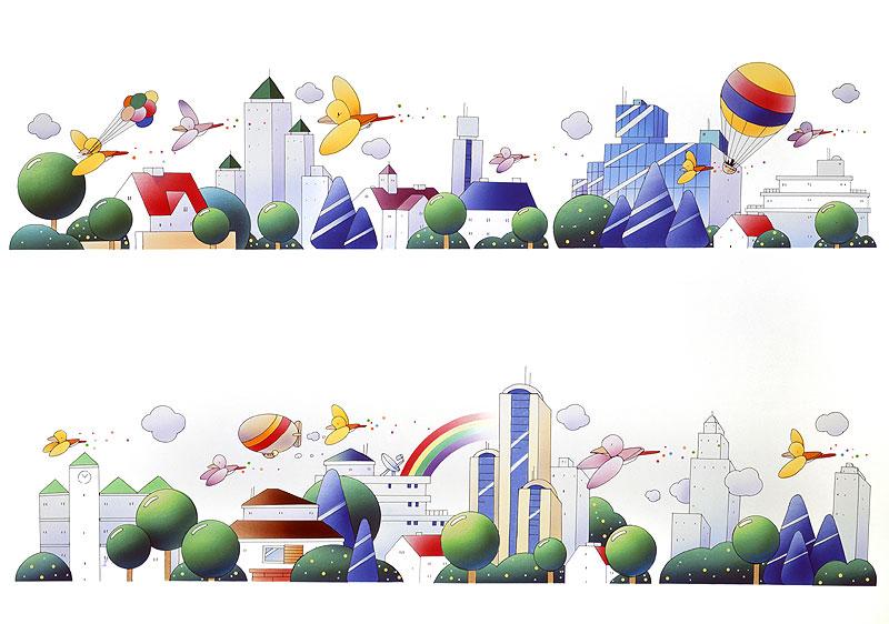 風景イラスト 街が連続した風景、高層ビル気球など