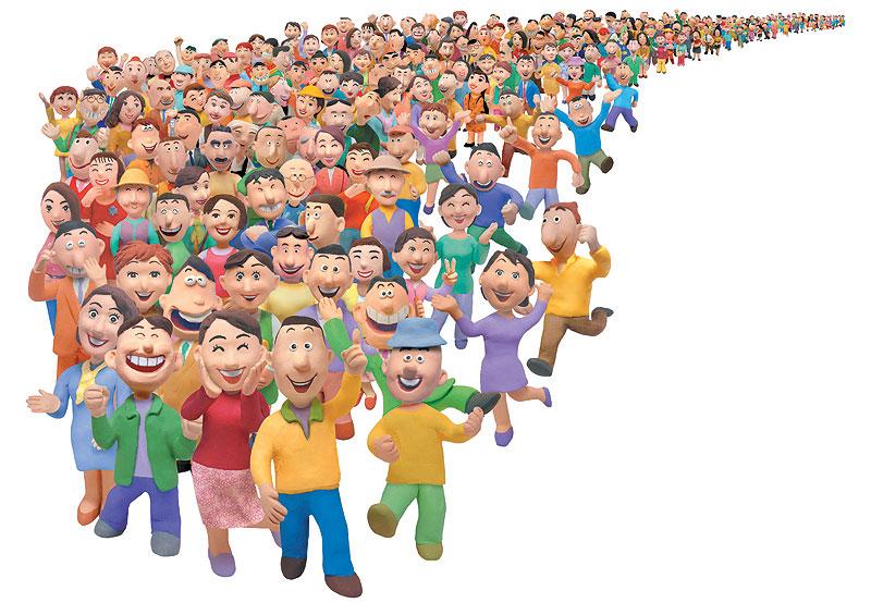 木村よしひろ 続々とこちらに集まってくる大人気の行列群衆イラスト