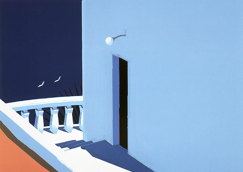 ギリシャのミコノス島を思わせる青い風景と白い家のイラスト