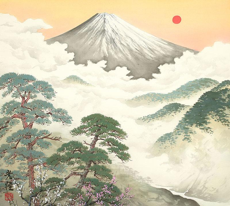 四季の山水画 松と日の出富士 1月