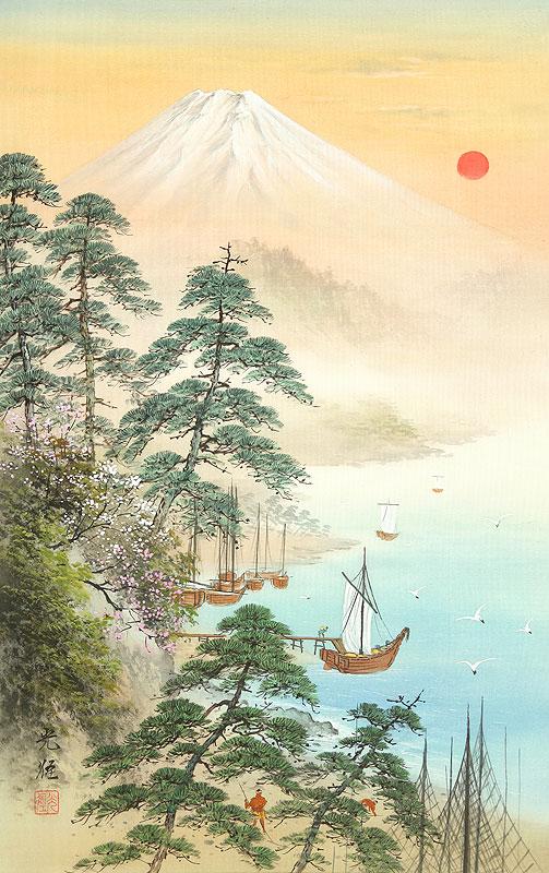 小島光径 山水画・お正月イラスト
