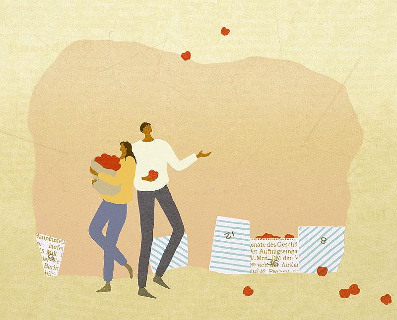 国栖晶子 リンゴを持つ大人の男女カップルイラスト