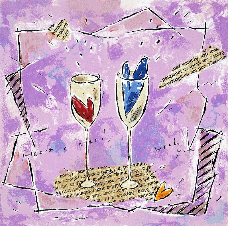 国栖晶子 バレンタイン恋人の二つのハートとグラスイラスト