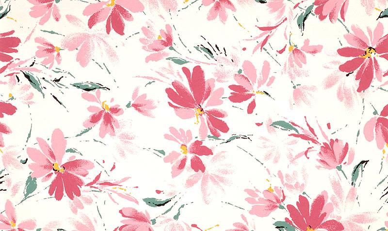植物イラスト ピンクの花柄の白い背景のパターン